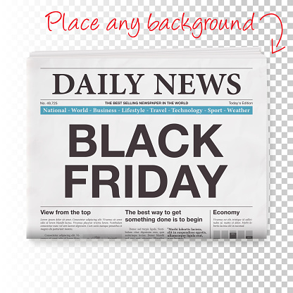 BLACK FRIDAY Headline. Newspaper isolated on Blank Background