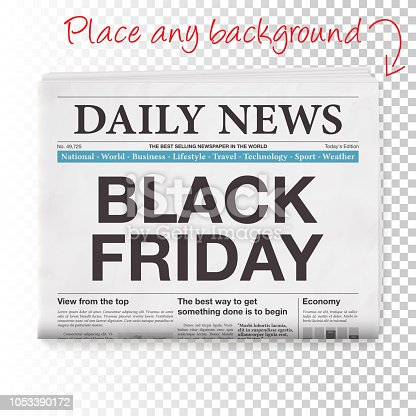 Newspaper headline : 'BLACK FRIDAY'. Realistic newspaper isolated on blank background. The layers are named to facilitate your customization. Vector Illustration (EPS10, well layered and grouped). Easy to edit, manipulate, resize or colorize. Please do not hesitate to contact me if you have any questions, or need to customise the illustration. http://www.istockphoto.com/portfolio/bgblue