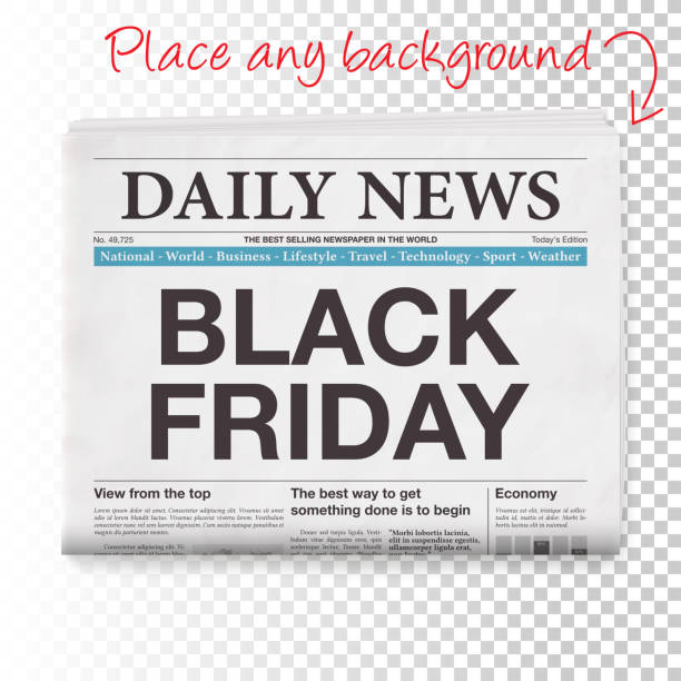 illustrazioni stock, clip art, cartoni animati e icone di tendenza di black friday headline. newspaper isolated on blank background - newspaper paper