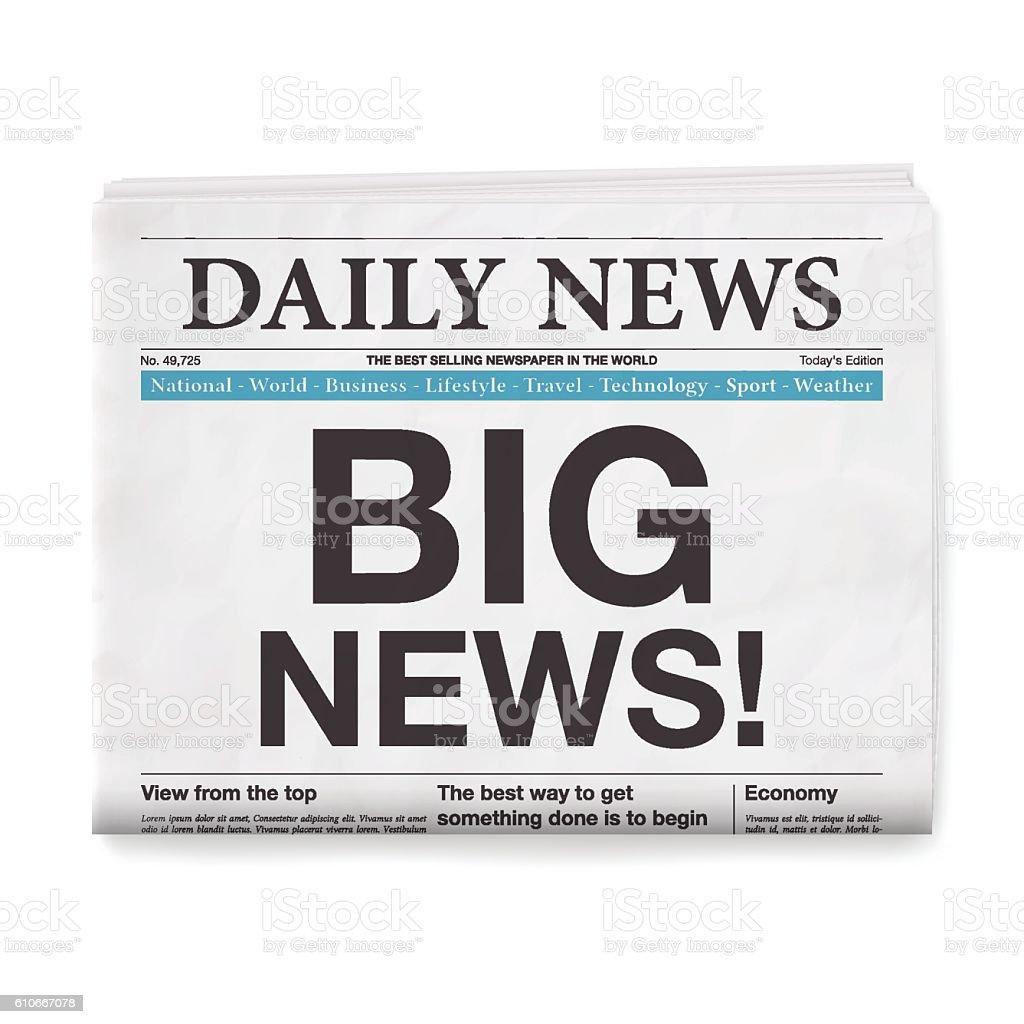 BIG NEWS! Headline. Newspaper isolated on White Background