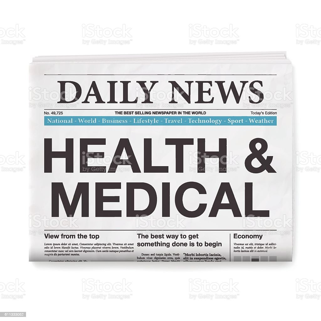HEALTH & MEDICAL Headline. Newspaper isolated on White Background vector art illustration