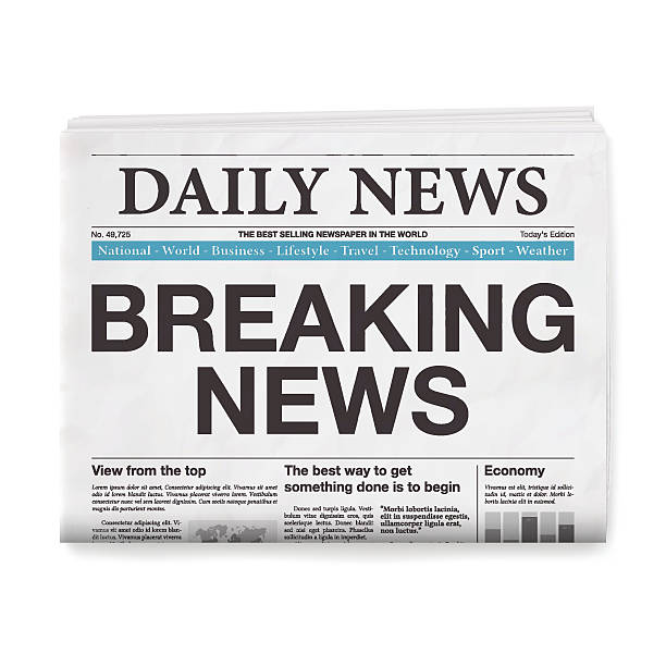 illustrazioni stock, clip art, cartoni animati e icone di tendenza di breaking news headline. newspaper isolated on white background - newspaper paper