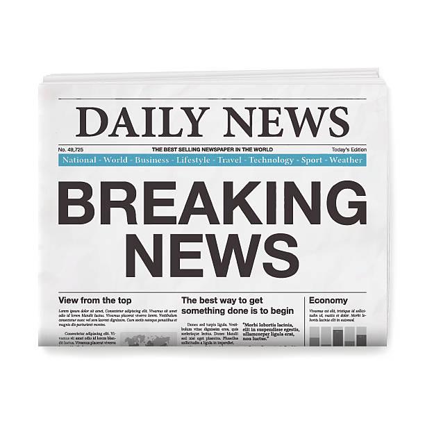 breaking news headline. newspaper isolated on white background - 역사적 중대 사건 stock illustrations