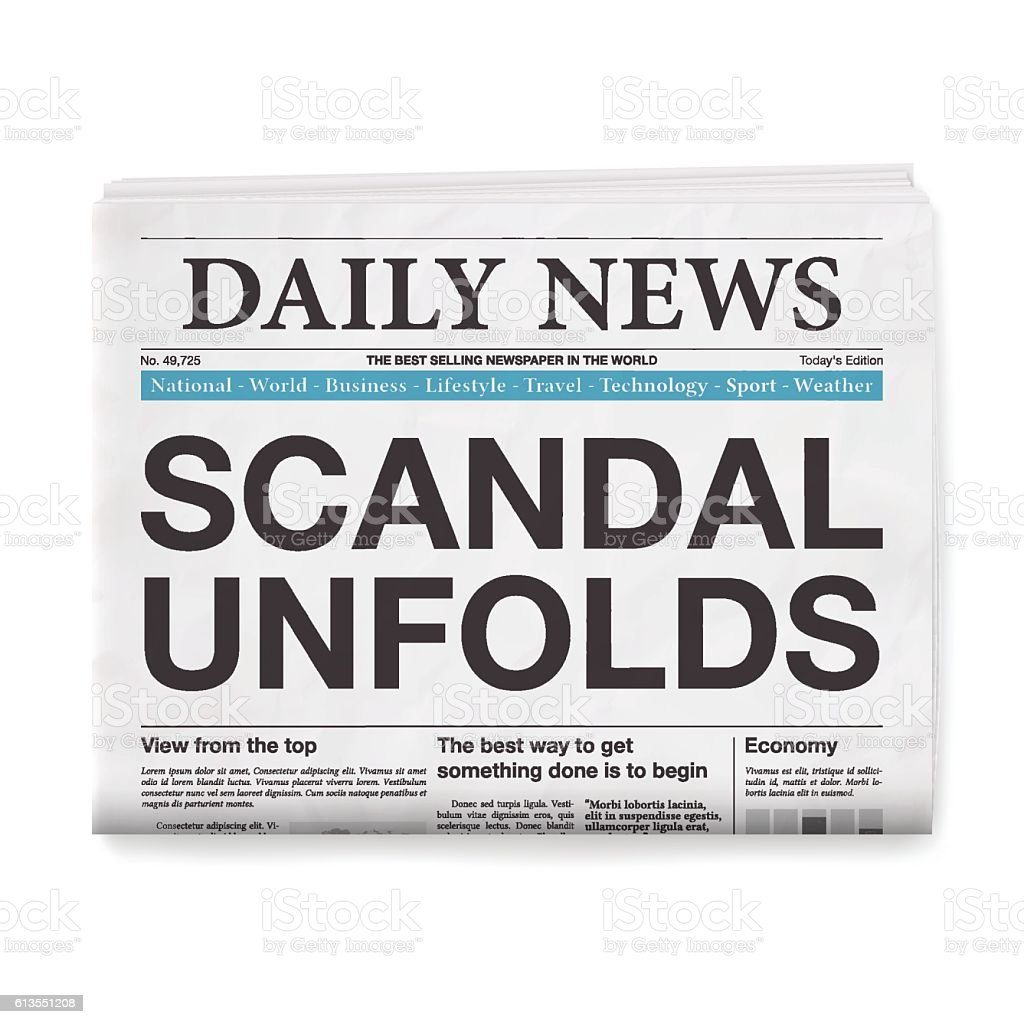 SCANDAL UNFOLDS Headline. Newspaper isolated on White Background vector art illustration