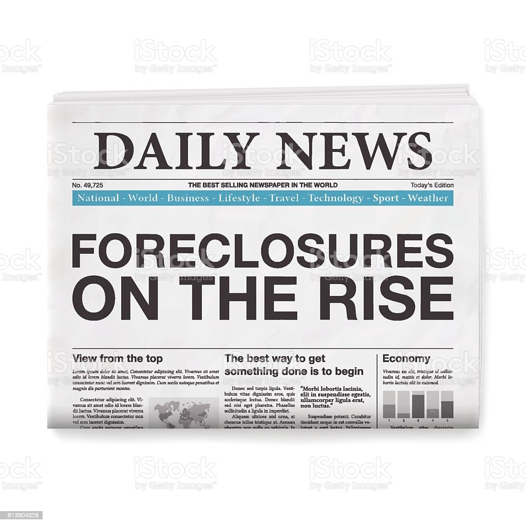 FORECLOSURES ON THE RISE Headline. Newspaper isolated on White Background - ilustração de arte em vetor