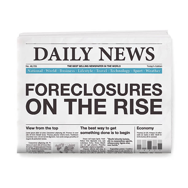 ilustraciones, imágenes clip art, dibujos animados e iconos de stock de foreclosures on the rise headline. newspaper isolated on white background - embargo hipotecario