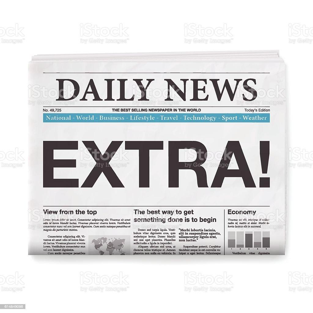 EXTRA! Headline. Newspaper isolated on White Background vector art illustration