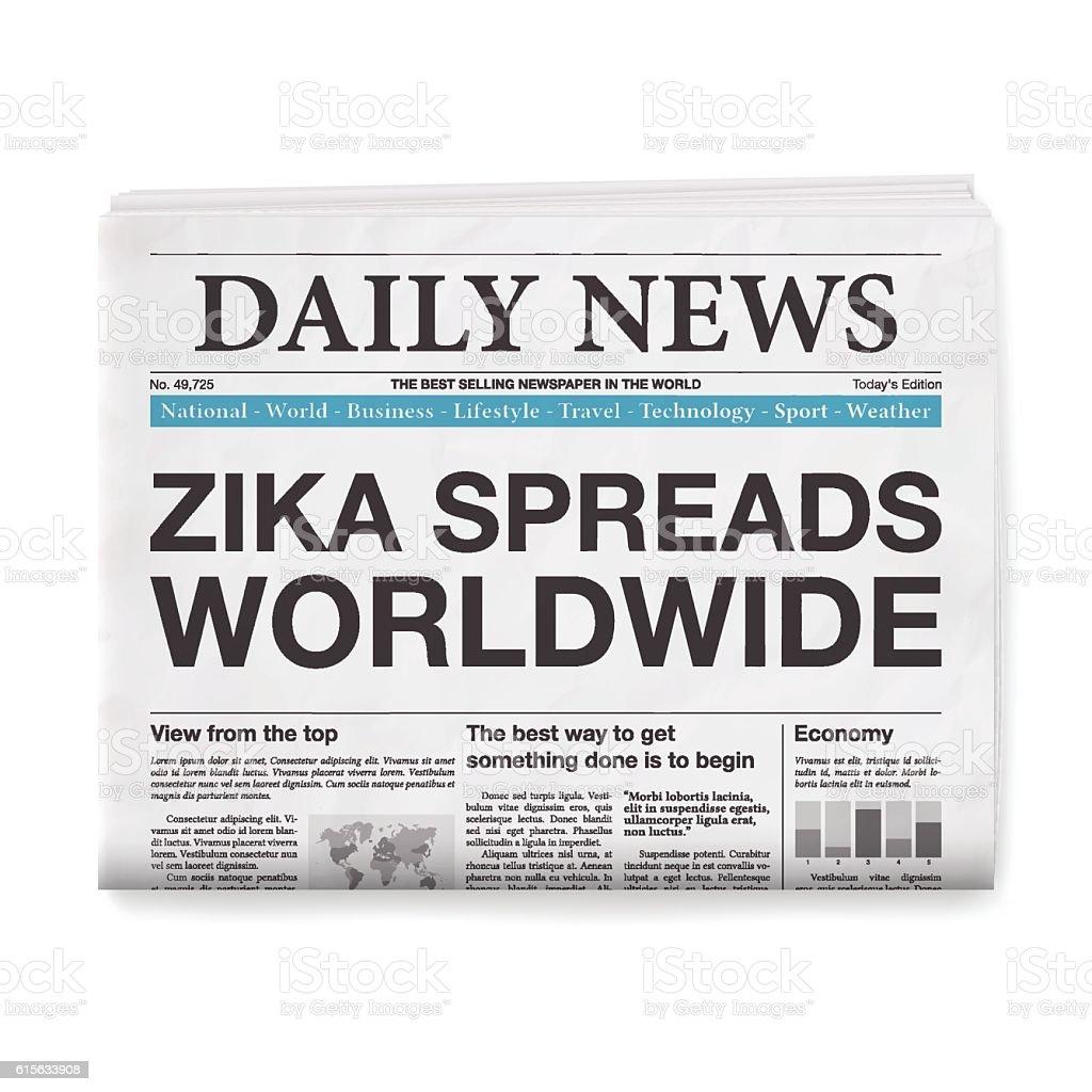 Zika Spreads Worldwide Headline Newspaper Isolated On ...