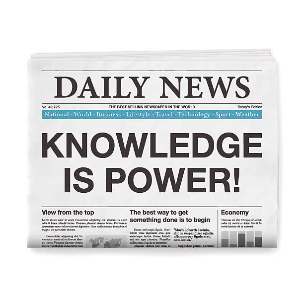 knowledge is power! headline. newspaper isolated on white background - 報紙頭條 幅插畫檔、美工圖案、卡通及圖標