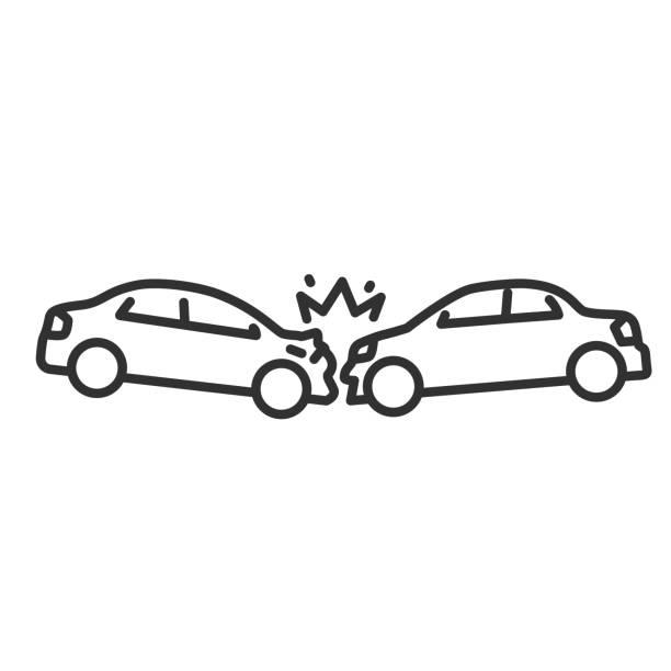 bildbanksillustrationer, clip art samt tecknat material och ikoner med en frontalkrock mellan bilar. linje med redigerbar linje - krockad bil