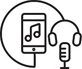 Vector illustration of a Headphone and microphone with phone Flat Simple outline line art design Icon