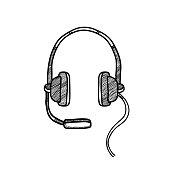 headphone drawing. eps 10 vector file
