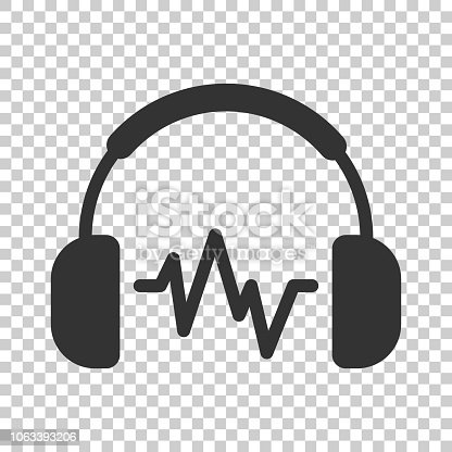 Headphone headset icon in flat style. Headphones vector illustration on isolated background. Audio gadget business concept.