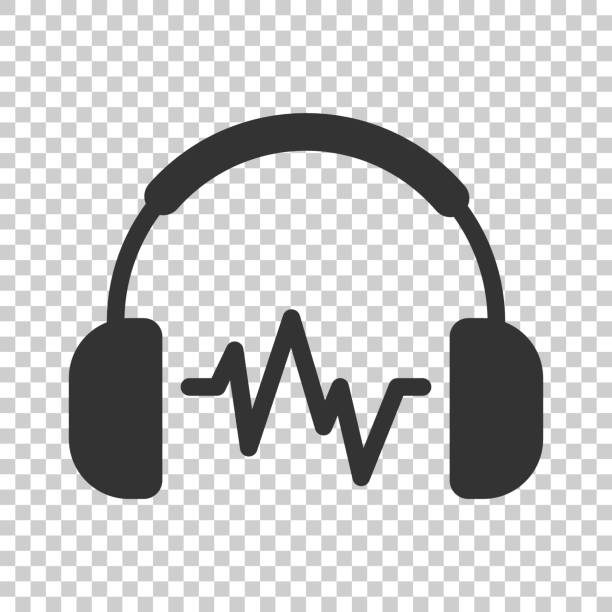 bildbanksillustrationer, clip art samt tecknat material och ikoner med hörlurar headset ikonen i platt stil. hörlurar vektor illustration på isolerade bakgrund. ljud gadget affärsidé. - headset