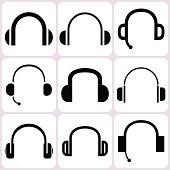 headphone icons set