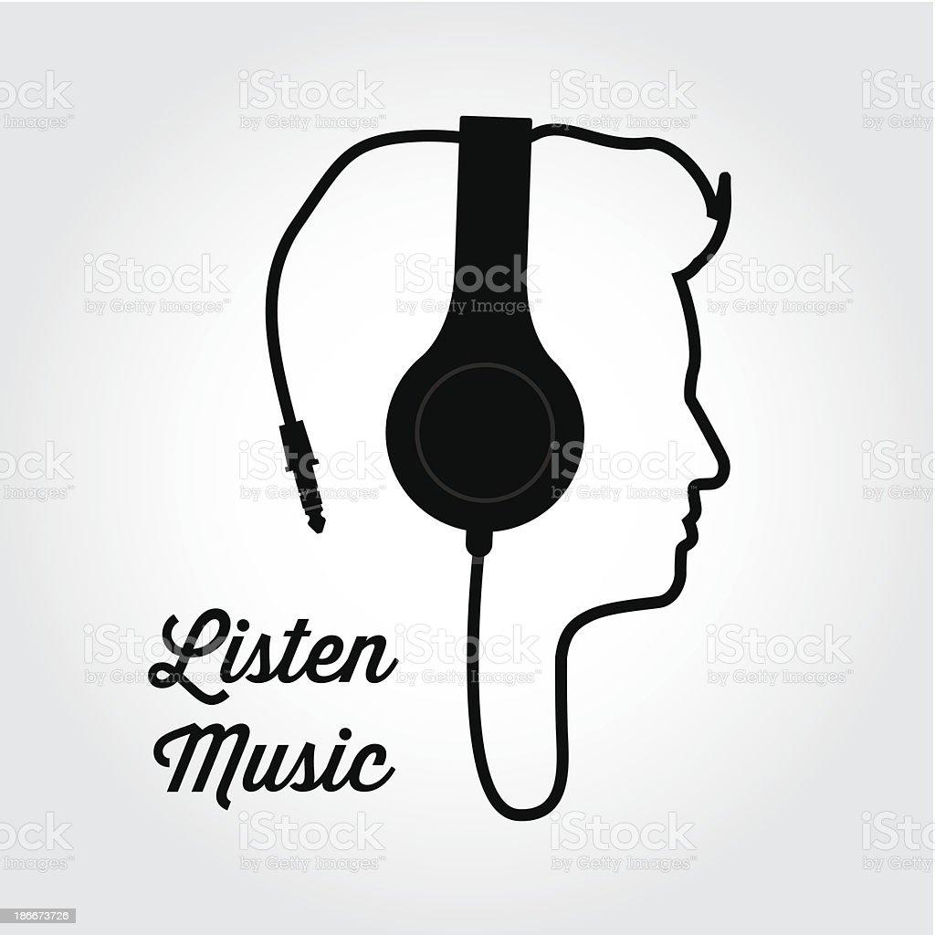 headphone music illustration vector art illustration