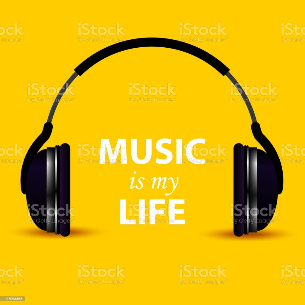 Headphone Music Is My Life Stock Vector Art More Images Of 2015 Royalty Free