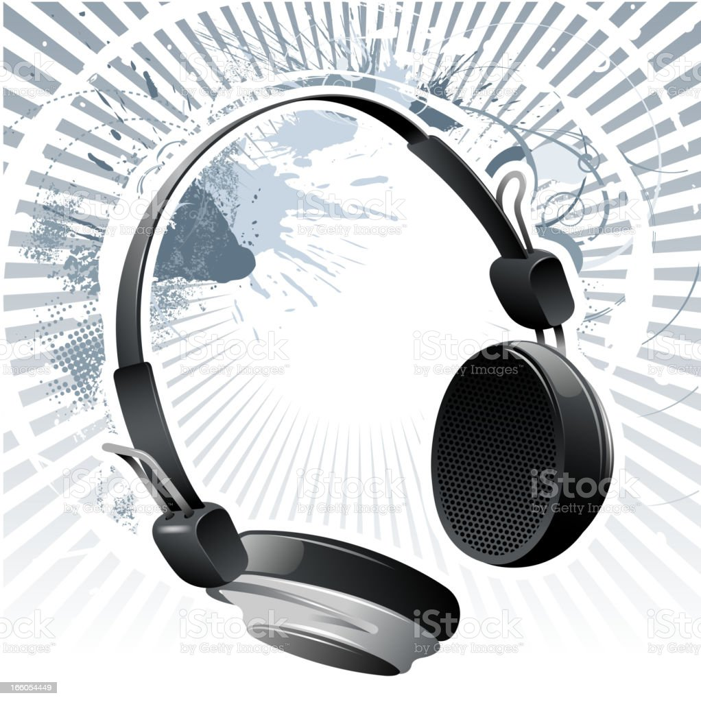 headphone on grunge backround royalty-free headphone on grunge backround stock vector art & more images of abstract