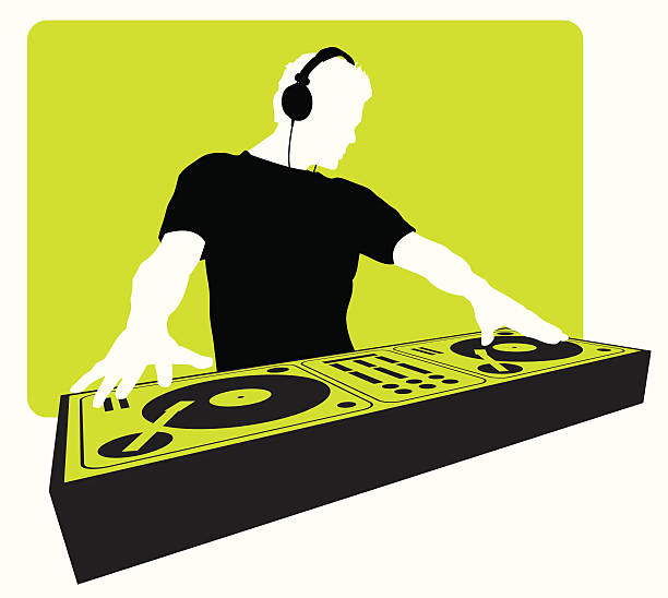 stockillustraties, clipart, cartoons en iconen met dj headphone turntable - dj