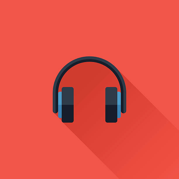 Headphone Flat design icon for web design headphones stock illustrations