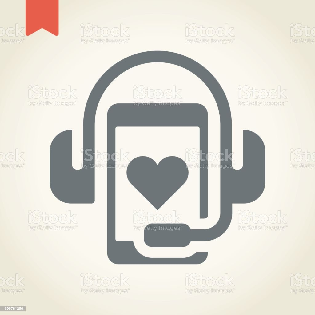 Headphone With Smart Phone On Heart Icon Stock Vector Art More