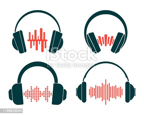 Headphone with sound wave set isolated on white background. Vector illustration.