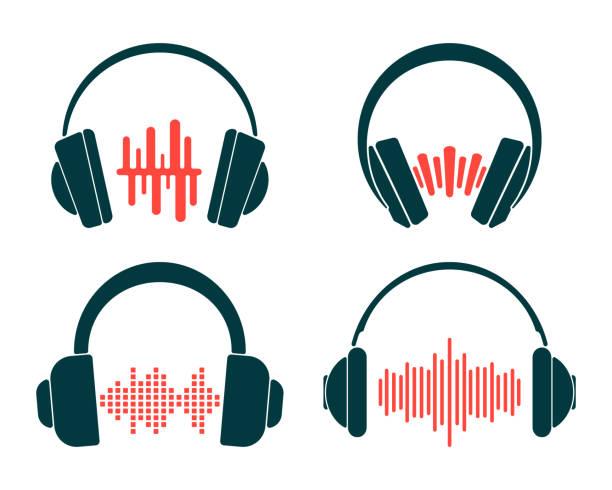 ilustrações, clipart, desenhos animados e ícones de auscultadores com a onda sadia isolada no fundo branco. jogo do ícone dos auscultadores - podcast