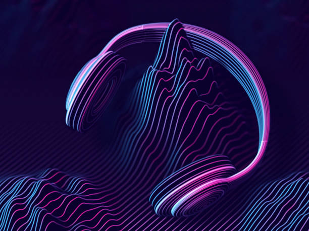 3d headphone with sound waves on dark background. - podcast stock illustrations