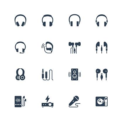 Headphones and audio equipment icon set in glyph style