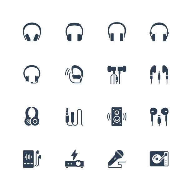 Headphones and audio equipment icon set in glyph style Headphones and audio equipment icon set in glyph style bluetooth stock illustrations