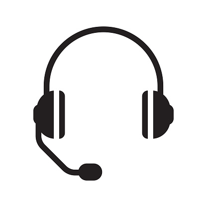 Headphones and Headset with a Microphone Icon Design.
