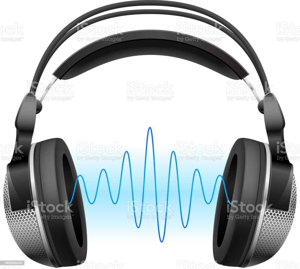 Headphones and music wave. royalty-free stock vector art