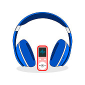 Headphones blue, music player, stereo sound , isolated white Vector