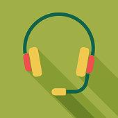 Headphones long shadow icon