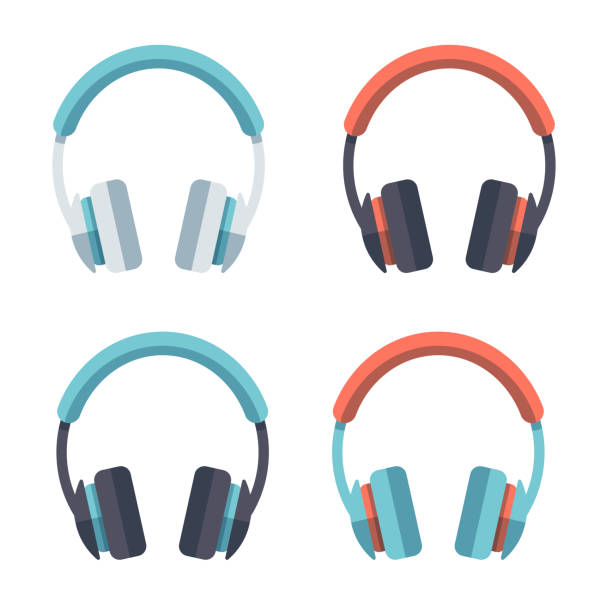 Headphones Flat Design Set A set of flat design-styled headphones. EPS 10 file, layered & grouped,  headphones stock illustrations