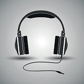 Headphones, headset, earphone with equalizer level for music, isolated