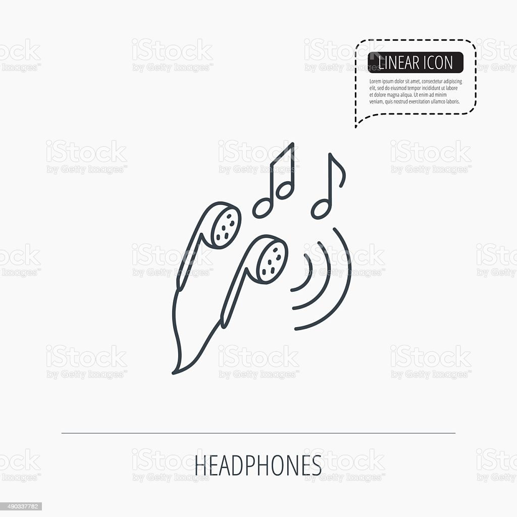 Headphones icon musical notes signs stock vector art more images headphones icon musical notes signs royalty free headphones icon musical notes signs stock biocorpaavc
