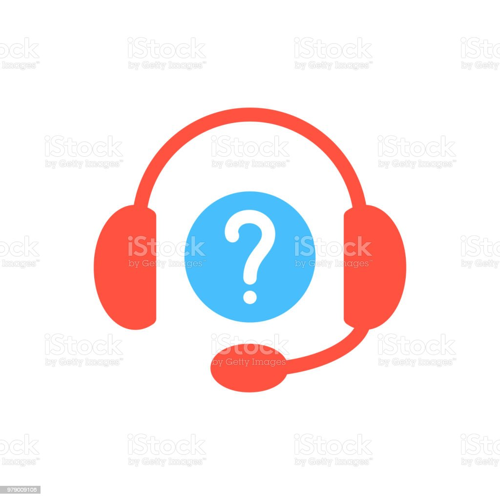 Headphones icon, technology icon with question mark. Headphones icon and help, how to, info, query symbol vector art illustration
