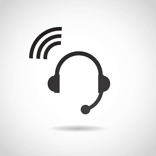 headphones icon. - call center stock illustrations, clip art, cartoons, & icons