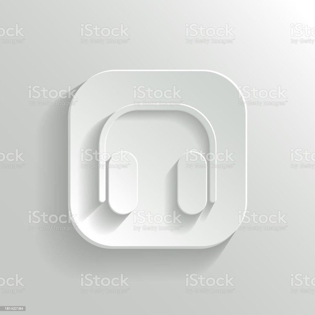 Headphones icon - vector white app button royalty-free stock vector art