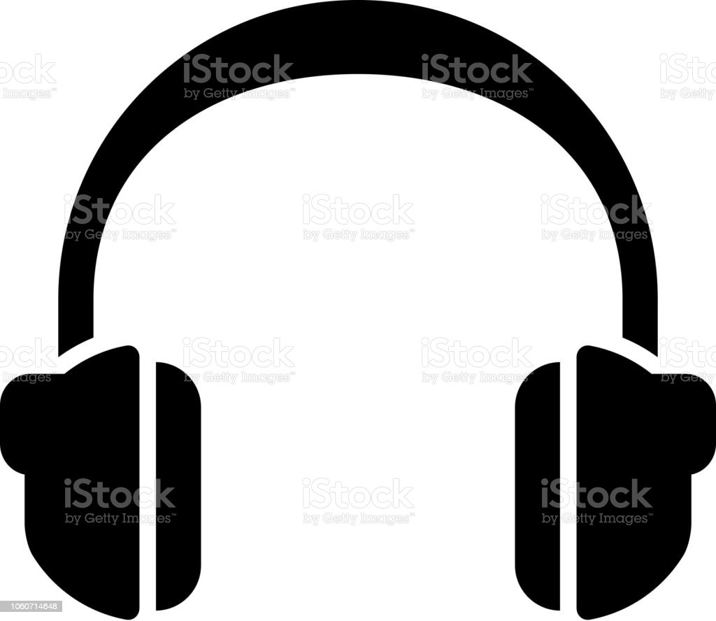Headphones Icon with Long Shadow vector art illustration