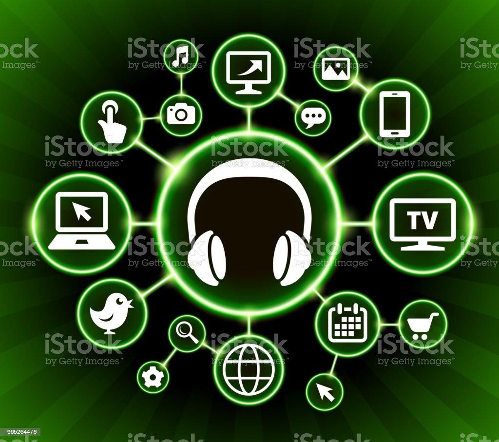 Headphones Internet Communication Technology Dark Buttons Background headphones internet communication technology dark buttons background - stockowe grafiki wektorowe i więcej obrazów akcesorium osobiste royalty-free