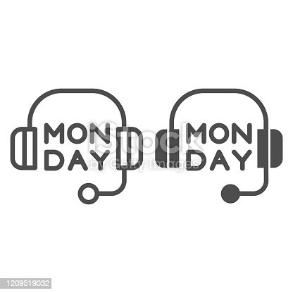 istock Headphones line and glyph icon. Headset with text vector illustration isolated on white. Monday inscription outline style design, designed for web and app. Eps 10. 1209519032