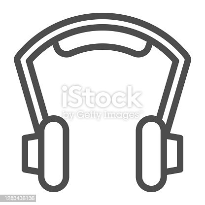 istock Headphones line icon, Sound design concept, earphones sign on white background, Headphone icon in outline style for mobile concept and web design. Vector graphics. 1283436136
