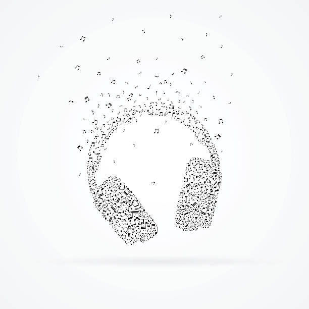Headphones made from floating notes. vector art illustration