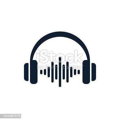 istock Headphones minimal icon with sound waves 1244097573
