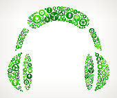 Headphones Nature and Environmental Conservation Icon Pattern. The green buttons completely fill the main object and vary in size and in the shade of the green color. Each button has a white nature and environmental conservation icon on it. The icons represent classic environmental themes such as recycling, trees, alternative energy, and other themes associated with conservation efforts. The background is light in color.
