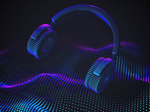 3D headphones on sound wave background. Colorful abstract visualization of digital sound and electronic music listening.