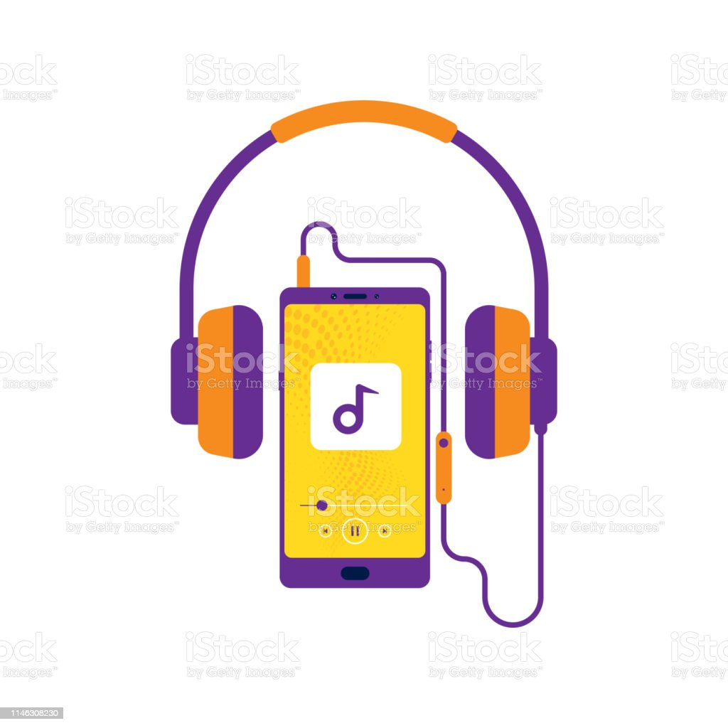 Headphones Retro Style Mobile With Headset Listening To Music
