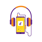 Headphones, Retro style Mobile with headset, listening to music, Cheerful songs playlist, Music player, Stereo sound Prints for cloths and cover
